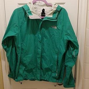 Green The North Face rain jacket